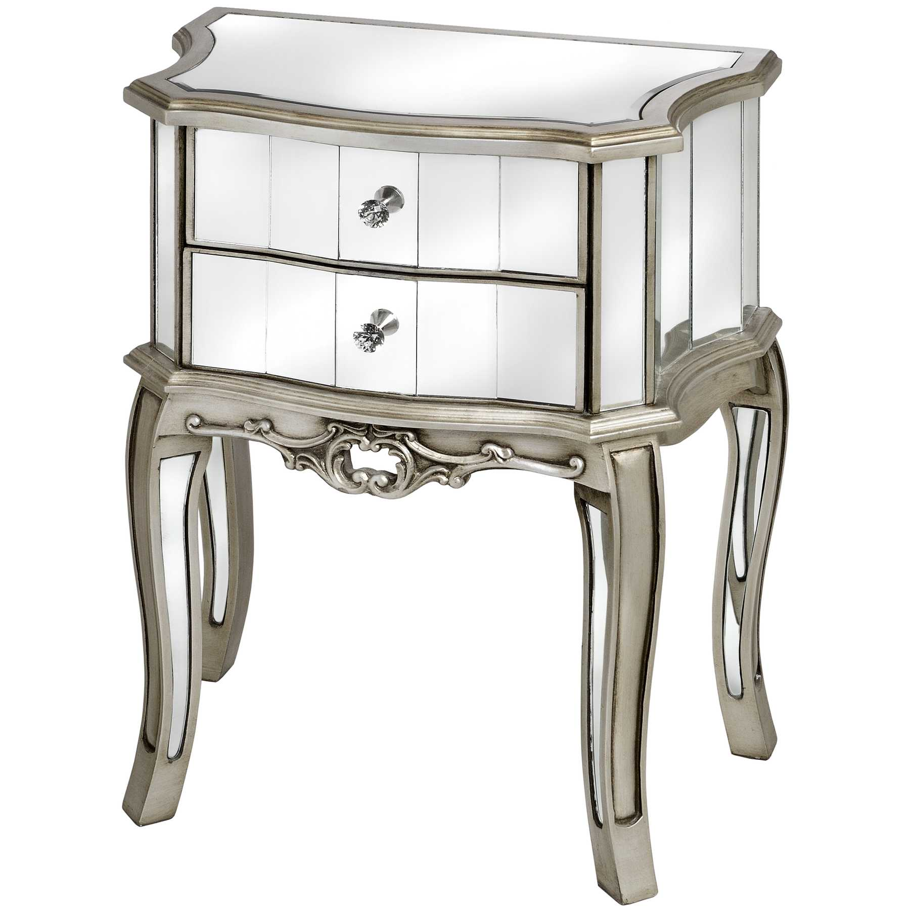 gold mirrored side table home design ideas curved top bedside with double mirror drawer and carved accent silver high legs interior idea espresso nightstand modern nightstands