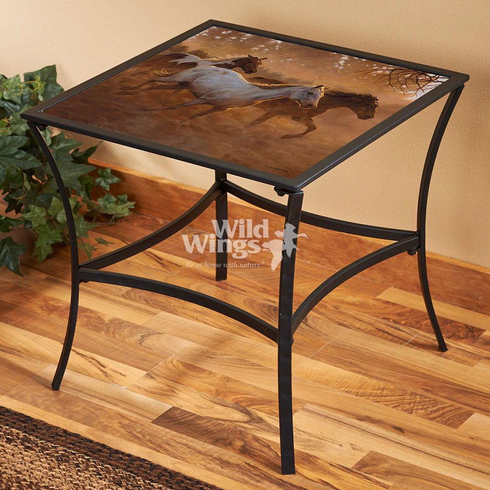 gold run horses metal glass accent table tdczrta dcuo occult location with top large end unique nesting tables modern hallway furniture target white and side real wood coffee