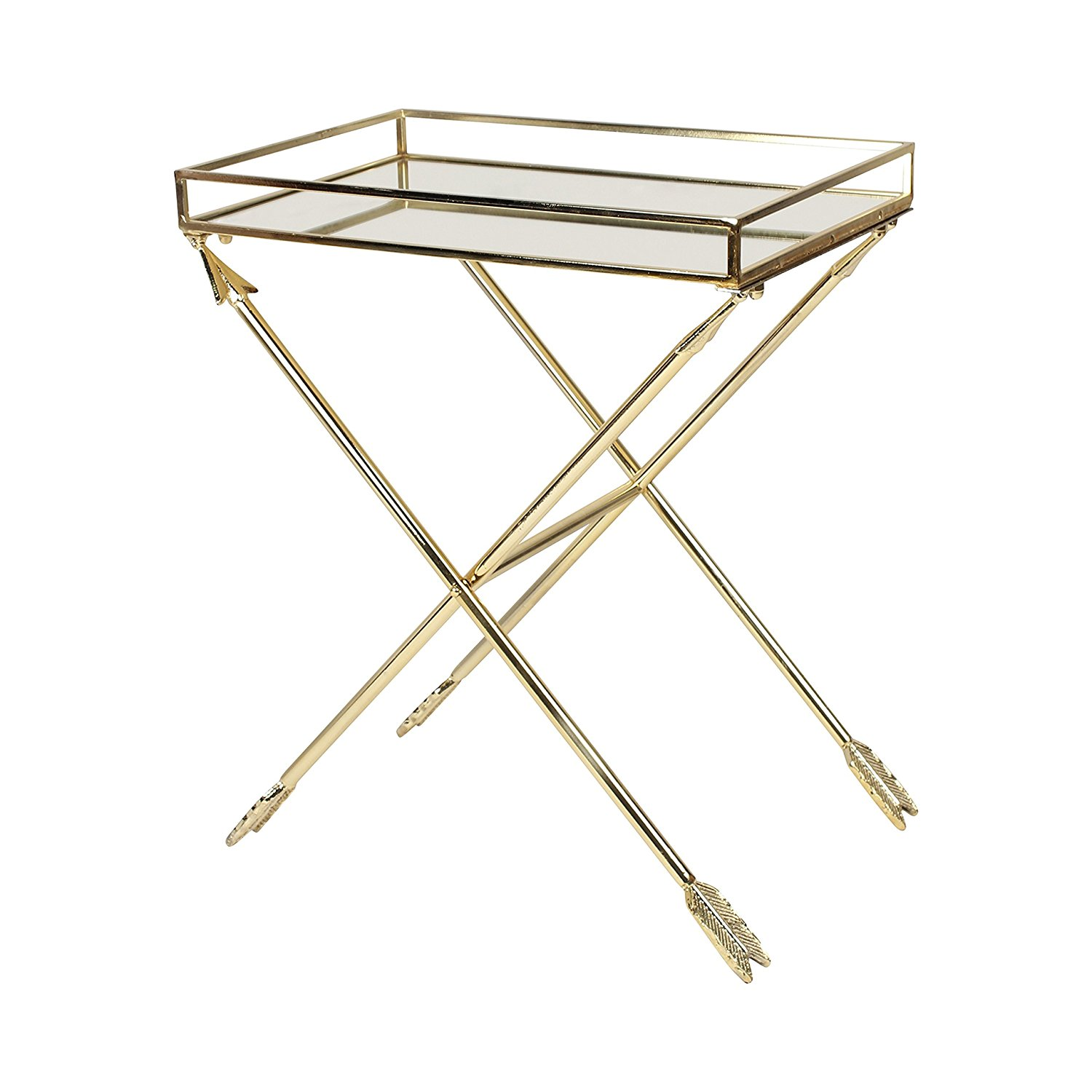 gold tray table find line metal accent get quotations kate and laurel madeira arrow with mirrored top storage trunk trend furniture marble end target pier lamps coffee wooden