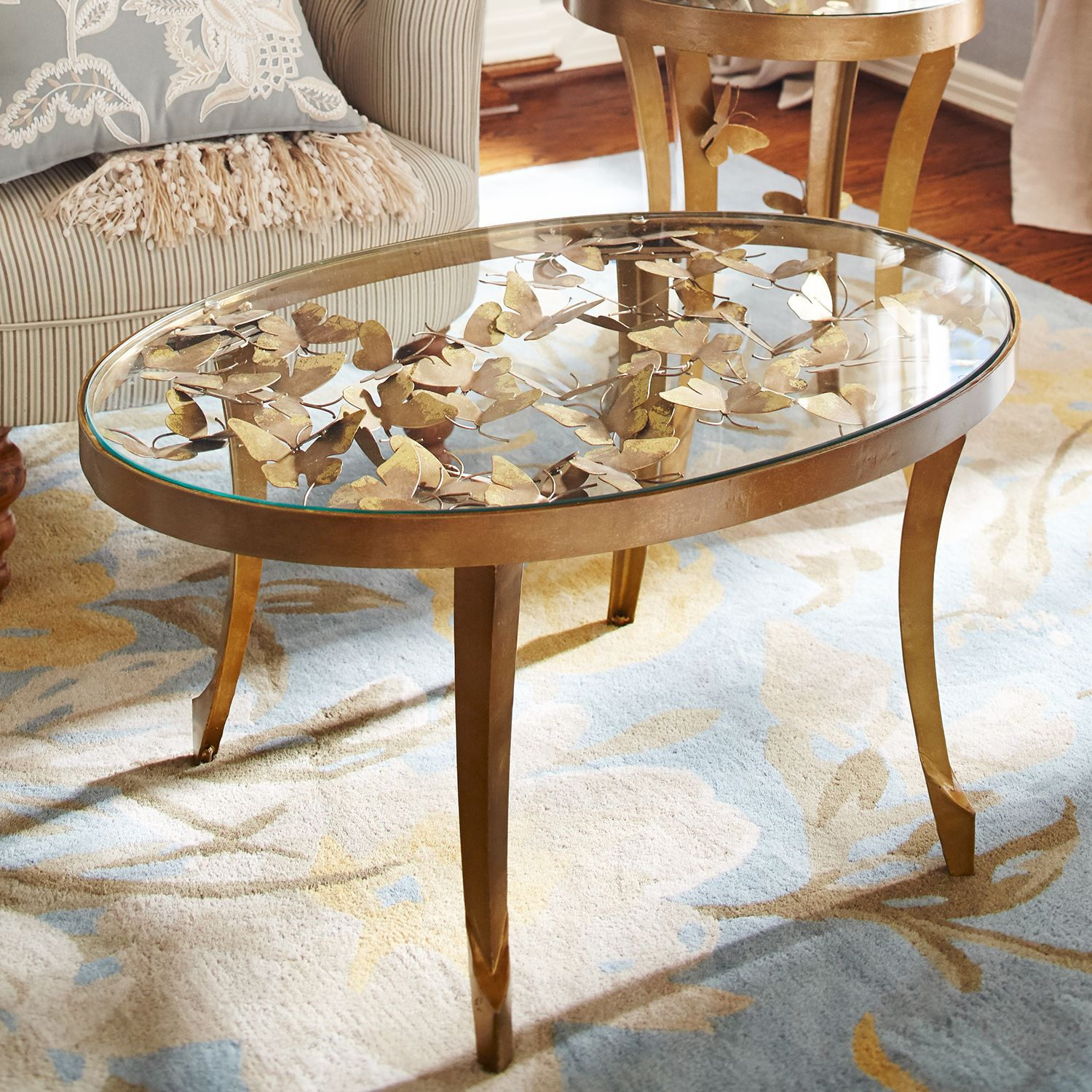 golden butterfly coffee table pier imports glass accent ethan allen chippendale dining chairs drawer chest end tablecloth coral home accents inch designer lamps small gray side