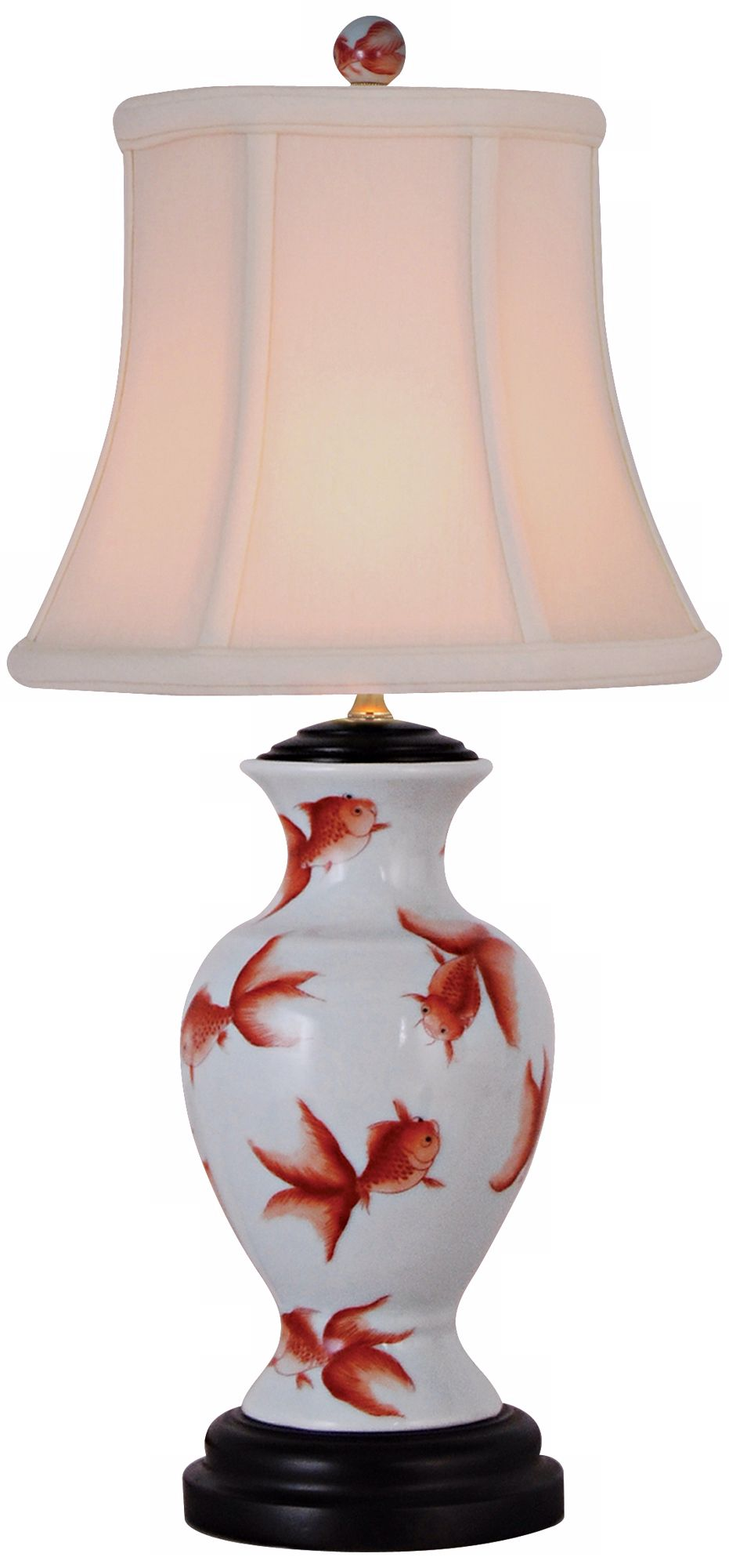 goldfish mini vase porcelain accent table lamp lamps allen jones wine cupboard dark brown backyard and chairs pulaski convertible sofa bunnings outdoor storage half moon mirrored