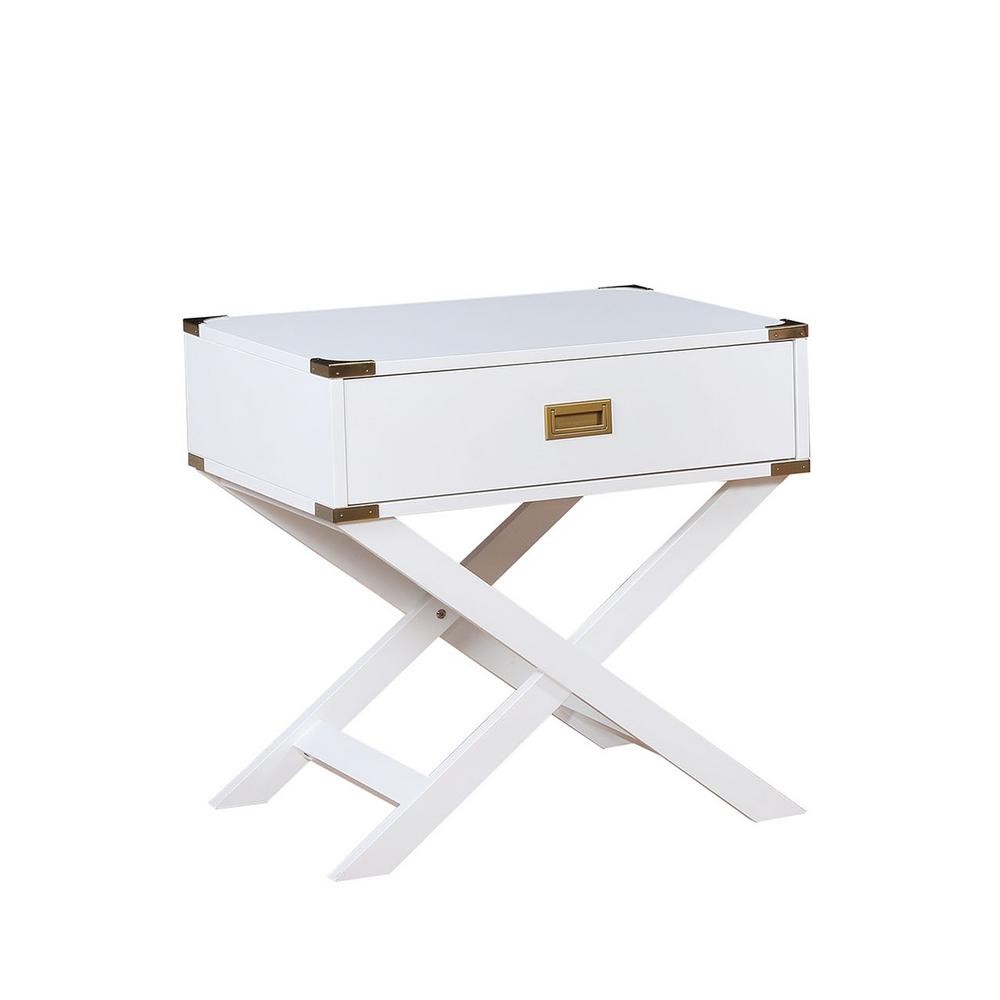 goodyear white side table with gold corner accent shaped legs and end tables drawer felt lined round marble dining drum seat cover glass patio small outdoor set cordless bedside
