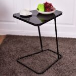 goplus modern glass top end table accent side snack coffee sofa portable black shape home steel pub furniture ikea desk pottery barn leather dining chairs small wrought iron round 150x150