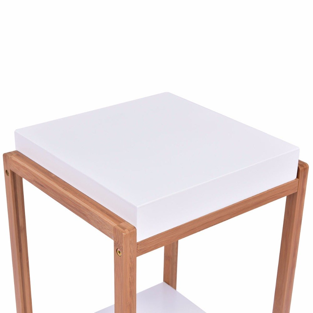 goplus side end table accent coffee bamboo wood storage night stand modern home display shelf white nightstand nightstands from furniture lamps black outdoor round with screw legs