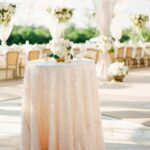 gorgeous and elegant outdoor wedding reception decor accent table tablecloth swathed rosy sequined outdoorwedding sequin entrance way tables freya round small desk with drawers 150x150