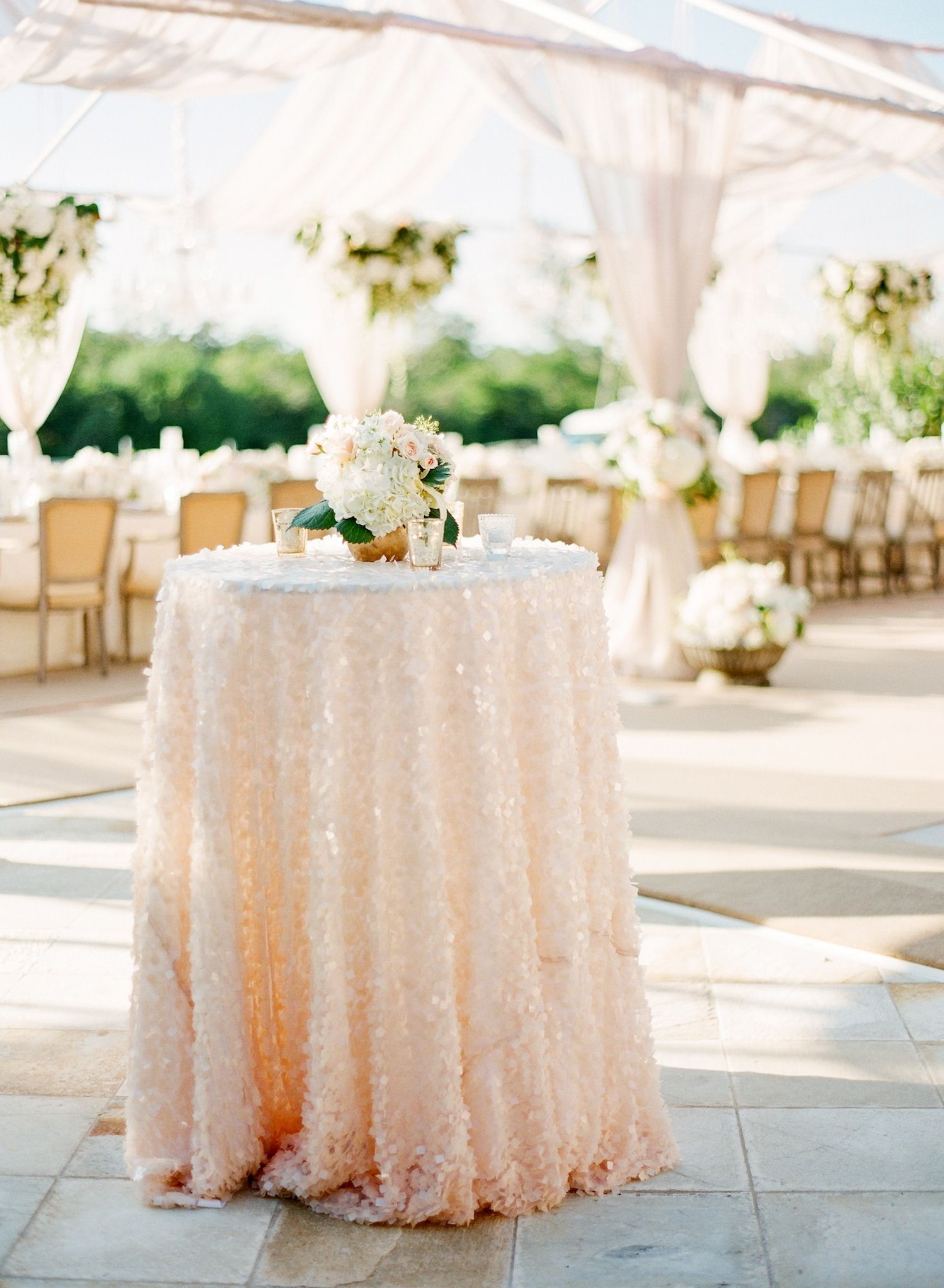 gorgeous and elegant outdoor wedding reception decor accent table tablecloth swathed rosy sequined outdoorwedding sequin entrance way tables freya round small desk with drawers