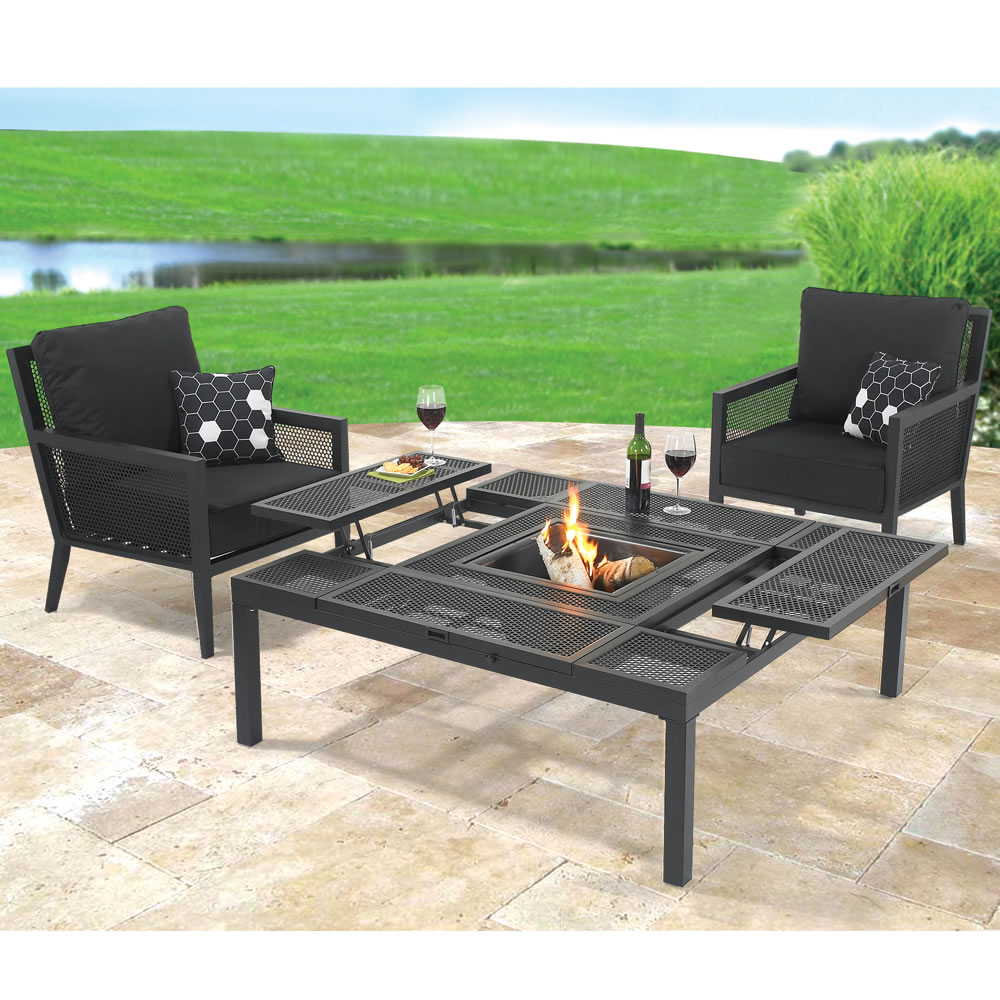 gorgeous black metal outdoor dining furniture set round sets rattan bunnings white gumtree wonderful table extendable concrete coast gold chairs side full size home ideas elegant