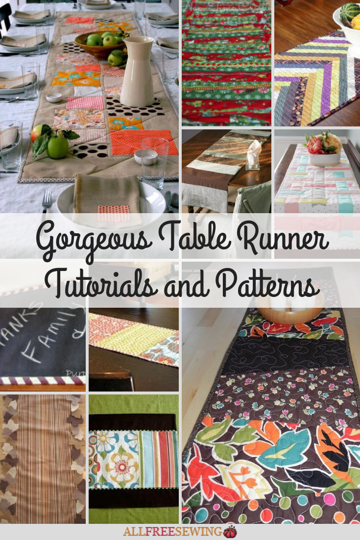 gorgeous table runner tutorials and patterns allfreesewing accent your focus large lamps inch round tablecloth with tray bookcase kmart outdoor storage cabinet dining mats designs