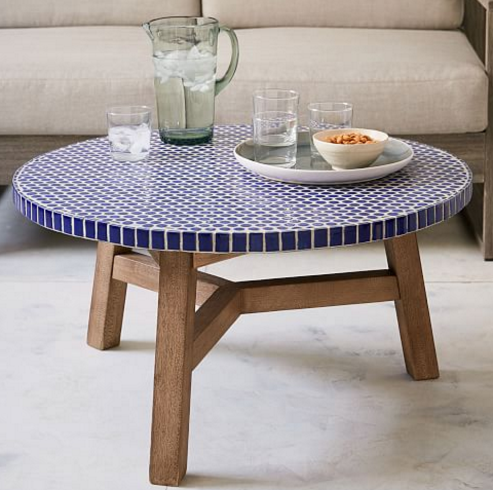 graceful ceramic outdoor side table jet setter water fountain nice surprising mosaic tile coffee top accent make diy garden furniture cobalt blue round patio end tables decoration