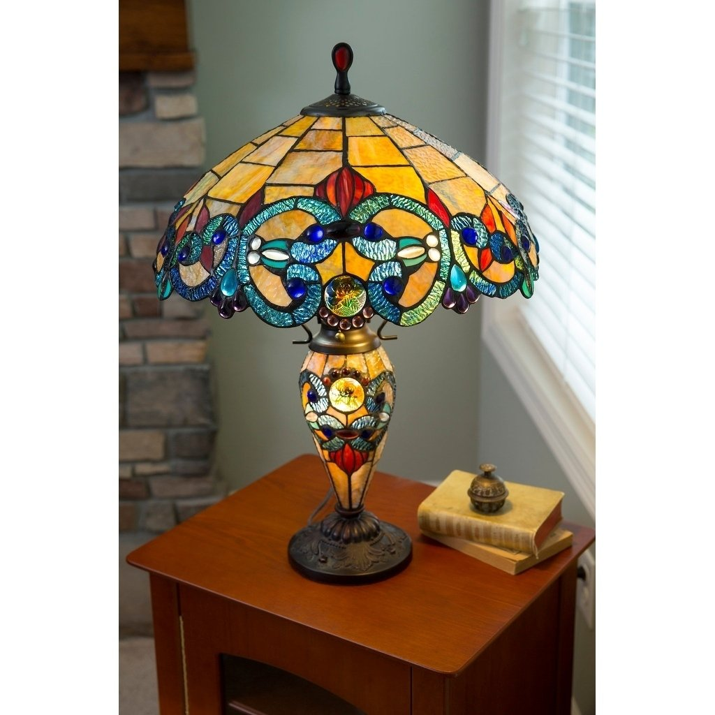 gracewood hollow maqqari inch tiffany style stained glass victorian accent table double lit lamp free shipping orders over outdoor bar cover console tall wooden plant stand