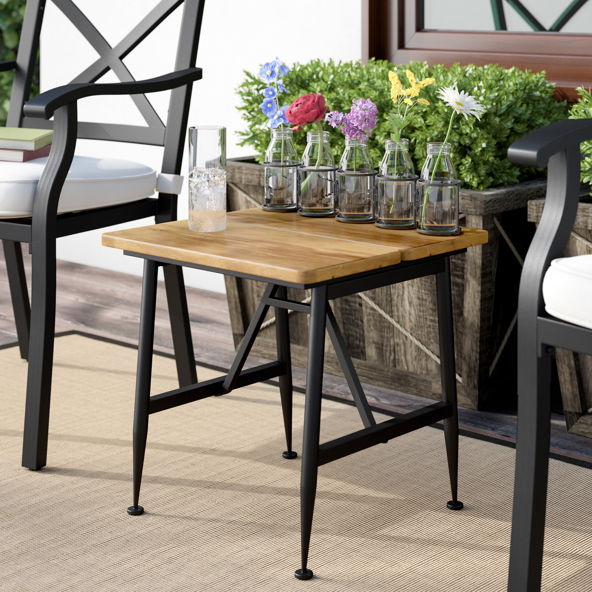gracie oaks frankston outdoor wood accent table reviews groups small bathroom floor cabinet screw furniture legs study desk nate berkus gold drum throne seat top height console