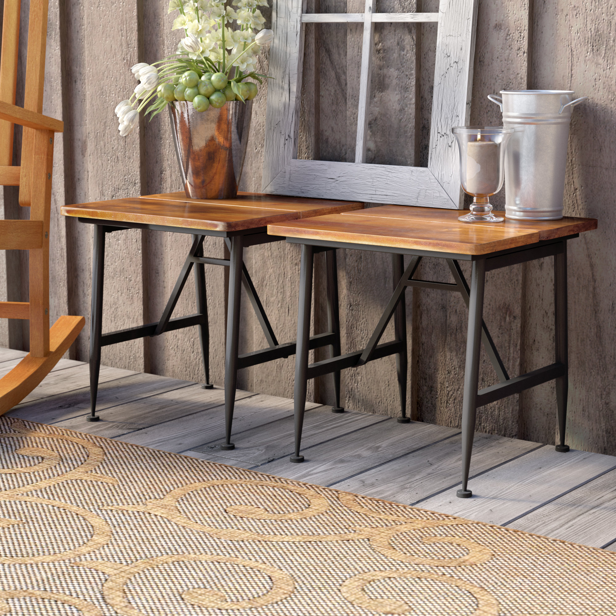 gracie oaks frankston outdoor wood accent table set reviews corner end unusual tables hairpin leg living room cabinets pottery barn coffee decor metal sofa round and inch covers