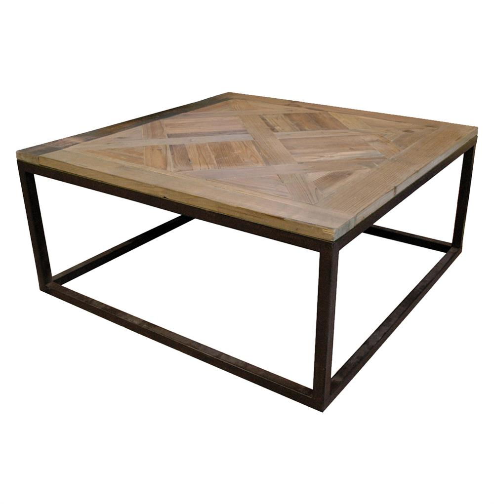 gramercy modern rustic reclaimed parquet wood iron coffee table product threshold accent kathy kuo home target tall sauder harbor view pottery barn frog drum unique drawer pulls