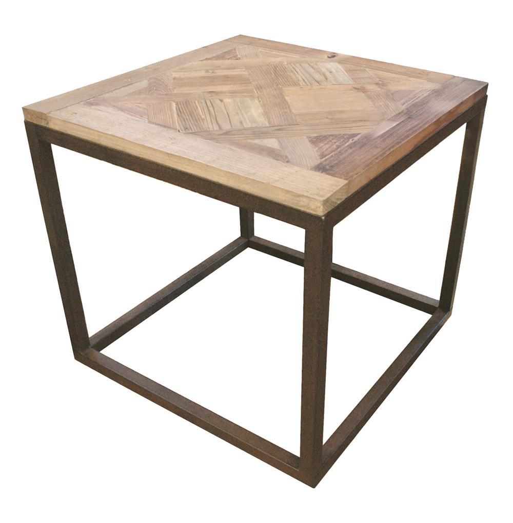 gramercy modern rustic reclaimed parquet wood iron side table product threshold accent kathy kuo home long narrow behind couch bronze coffee kitchen counter solid brass bedside