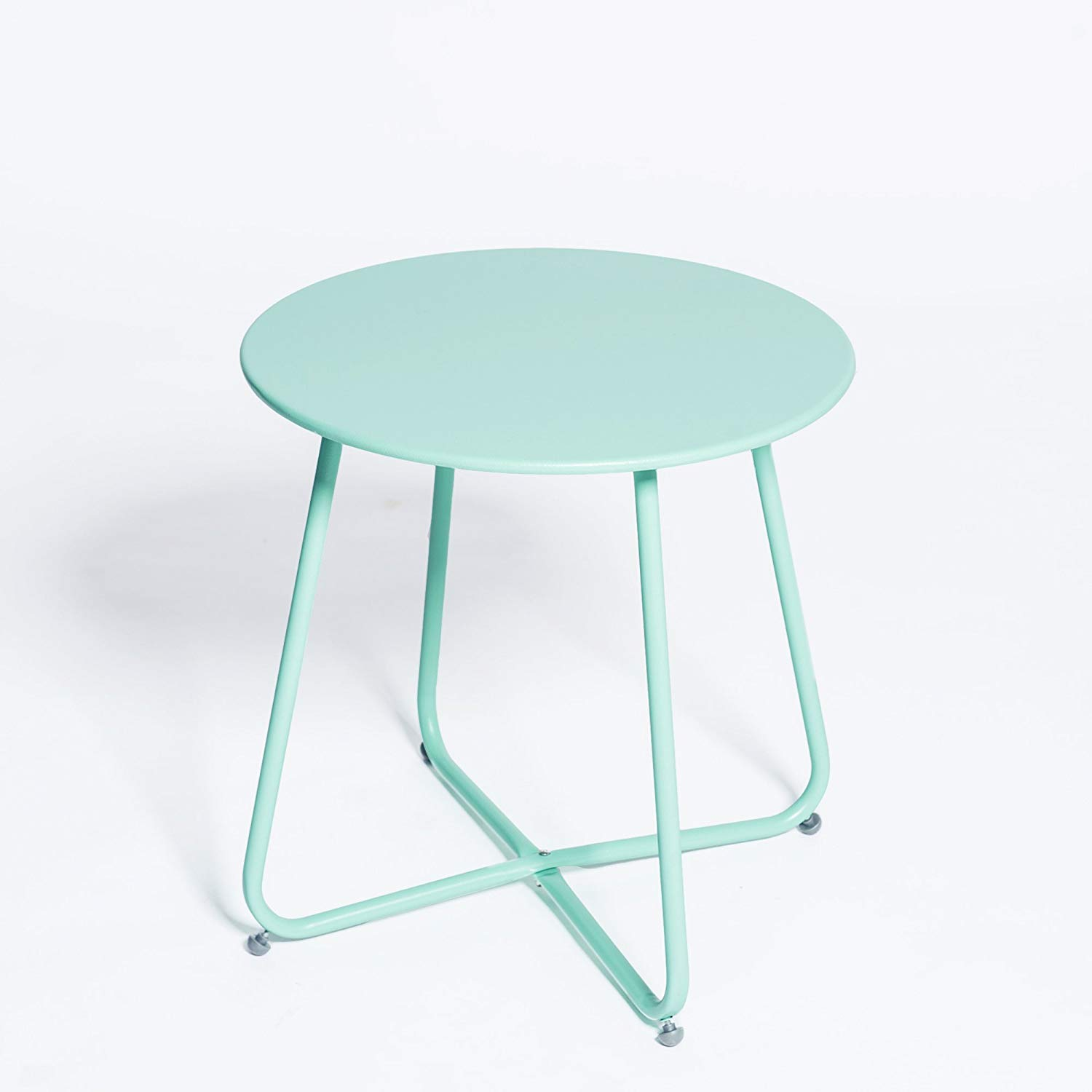 grand live steel small round bistro side table outdoor metal indoor ott tray snack coffee anti rusty light blue green glass and tables with wheels tool storage sequin tablecloth