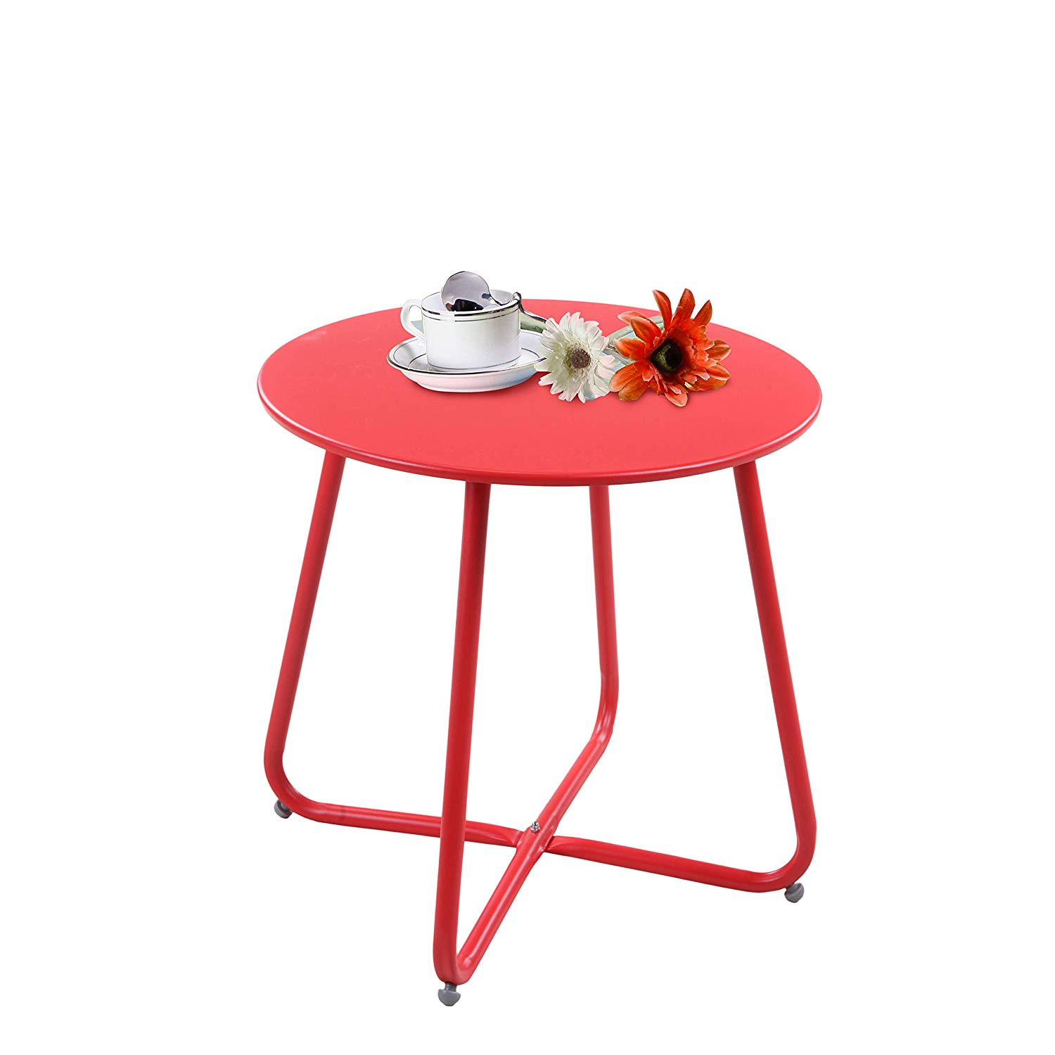 grand patio steel coffee table weather resistant red outdoor accent side small round end tables garden telephone and seat fold away desk lamps under purple tiffany style bistro