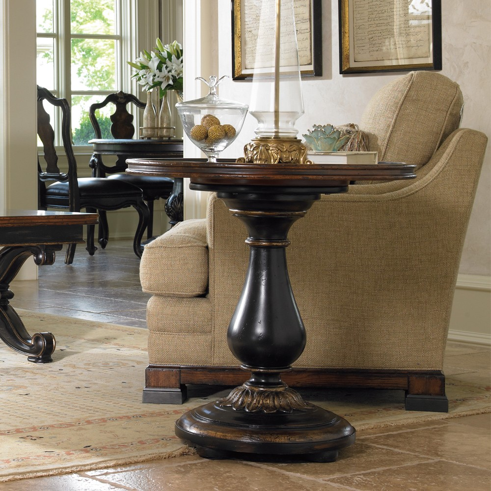 grandover wood round accent table handpainted black handrubbed roundaccenttable handpaintedblackhandrubbedgold gold big lots tables square tiffany lamp threshold coffee metal