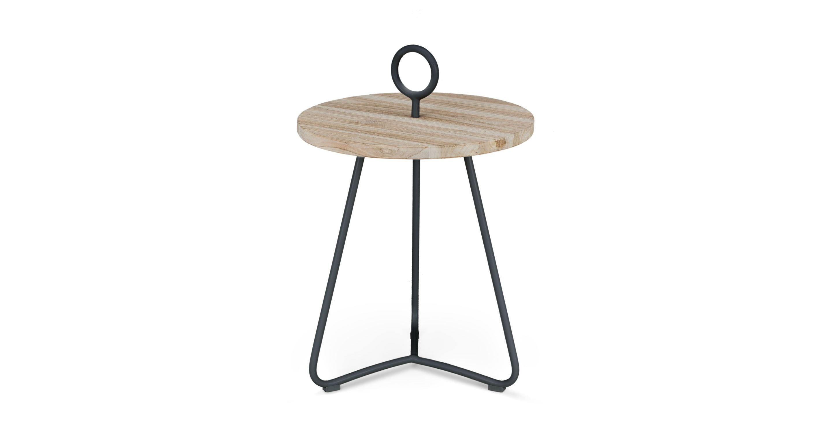 graphite side table mini masculine mid mod munson project teak outdoor accent you can easily bring this inside thanks its playful looped handle round cherry wood end tables space