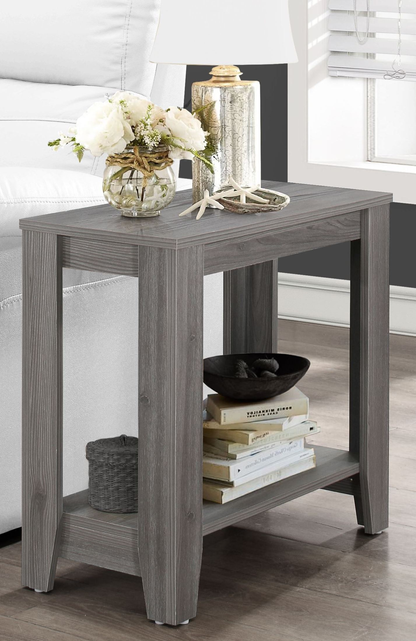 gray accent table weathered from monarch coleman furniture wedding reception decorations sunroom narrow hallway console cabinet white coffee set wood living room armchair black