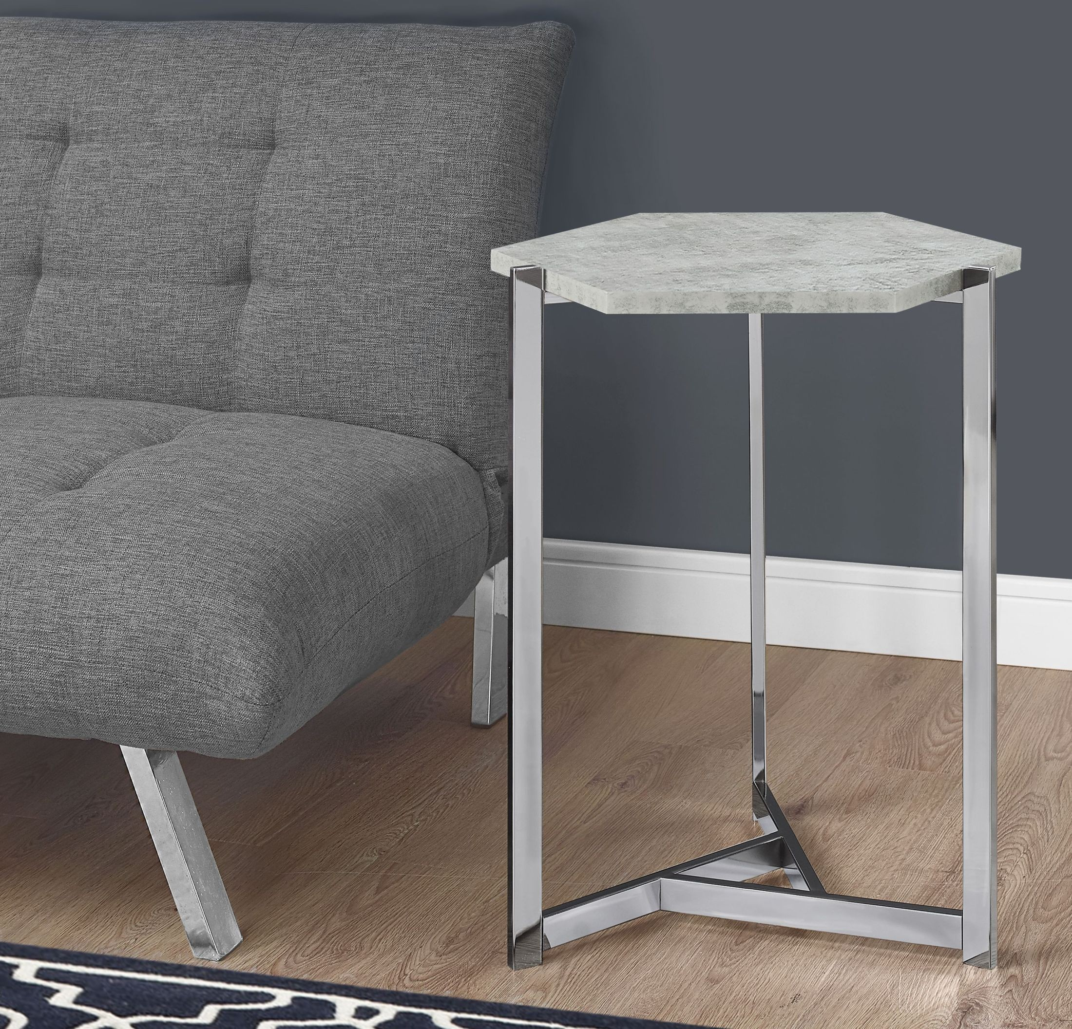 gray cement hexagon accent table from monarch coleman furniture grey normande lighting led desk lamp granite top coffee and end tables white bedside pier one imports locations