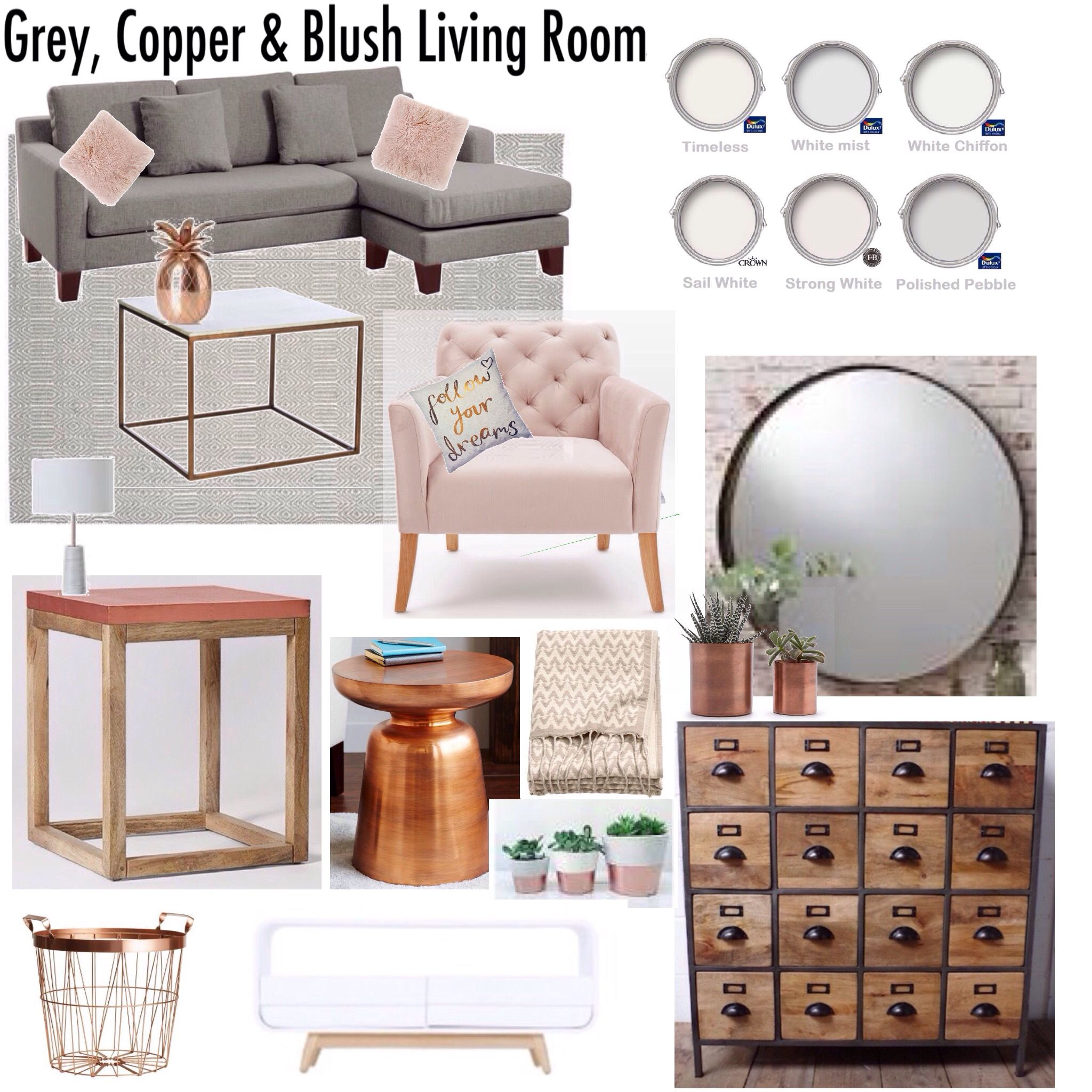 gray copper blush living room decor mood board ideas crate and barrel marilyn accent table drop leaf kitchen set hammered brass side west elm replacement lamp shades ships lantern