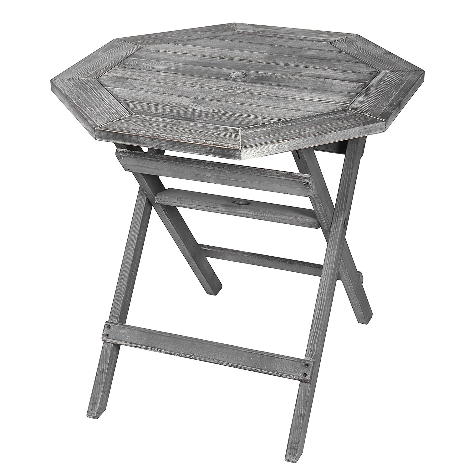 gray patio table find line black accent get quotations rustic barnwood pine wood folding octagonal inch bistro with umbrella small stool furniture foam easy coffee west elm globe