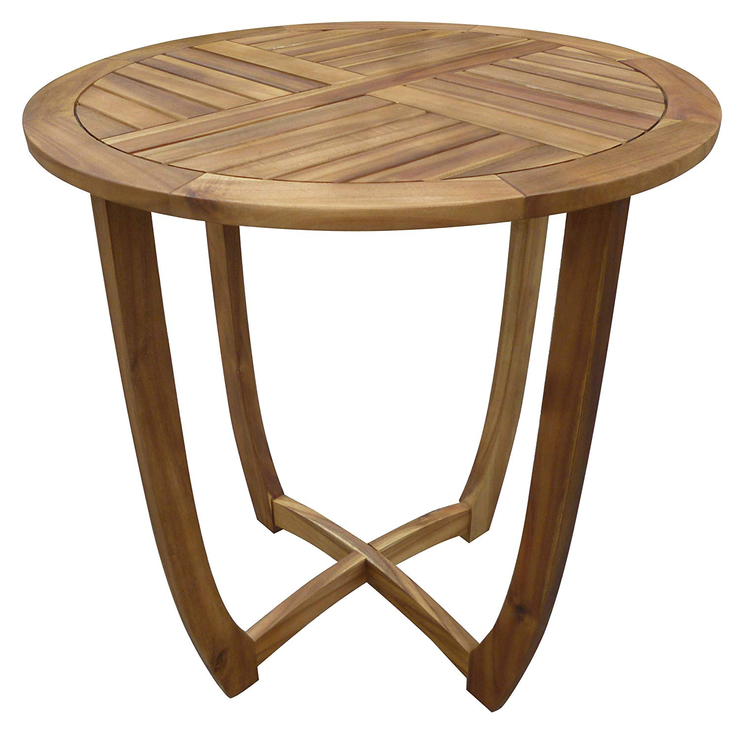 great furniture navarro round wood outdoor accent table perfect for patio with teak finish garden entry small spaces bottle wine rack classic design natural leather storage