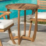 great furniture navarro round wood outdoor accent table teak perfect for patio with finish chairs cream bedside lamps sheesham side dining sets art deco lighting clearance dale 150x150
