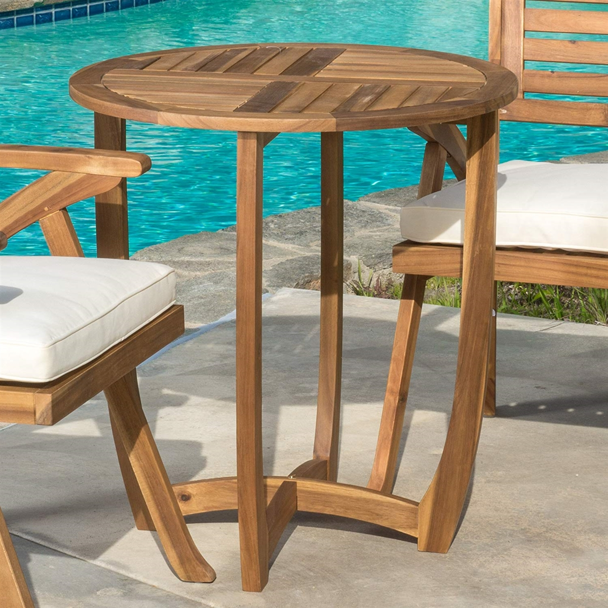 great furniture navarro round wood outdoor accent table teak perfect for patio with finish chairs cream bedside lamps sheesham side dining sets art deco lighting clearance dale