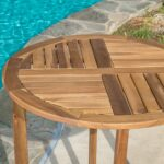 great furniture navarro round wood outdoor accent table teak perfect for patio with finish coffee wheels lamp shades usb mid century modern doors target sideboard meyda tiffany 150x150