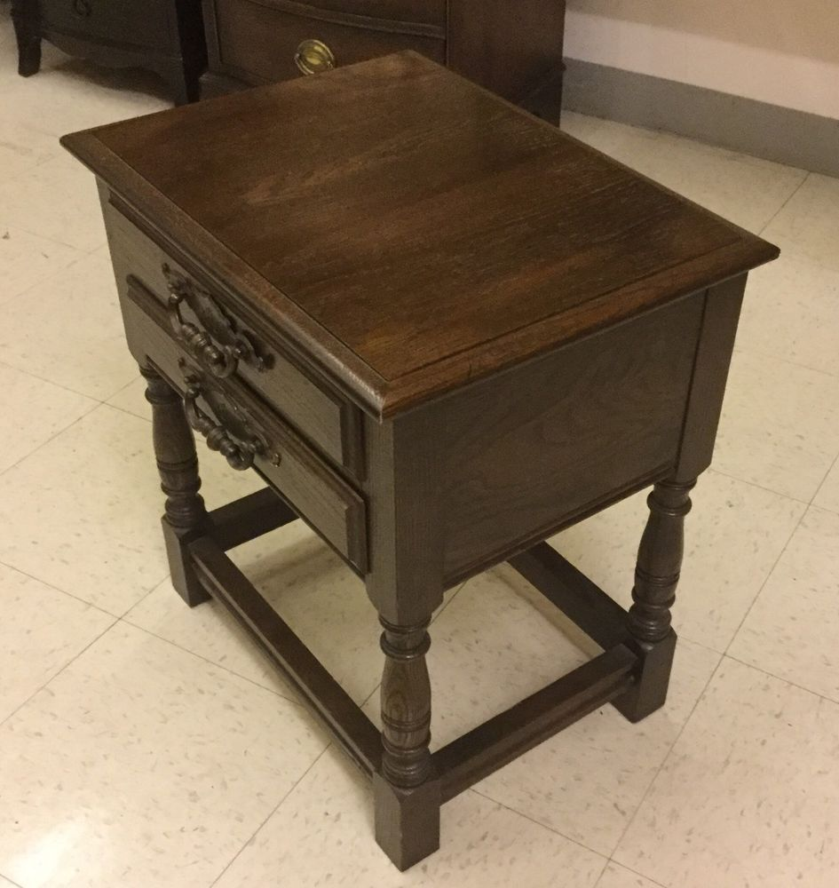 great small solid oak drawer end table painted accent tables round patio with umbrella hole hammered metal coffee nate berkus silver side next living room furniture linen napkins
