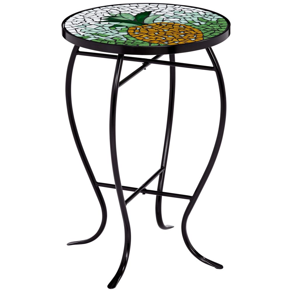 green and white pineapple mosaic round outdoor accent table style tile west elm lamps plus tables dining room sets grill chef wood metal gateleg mirror chests consoles runner