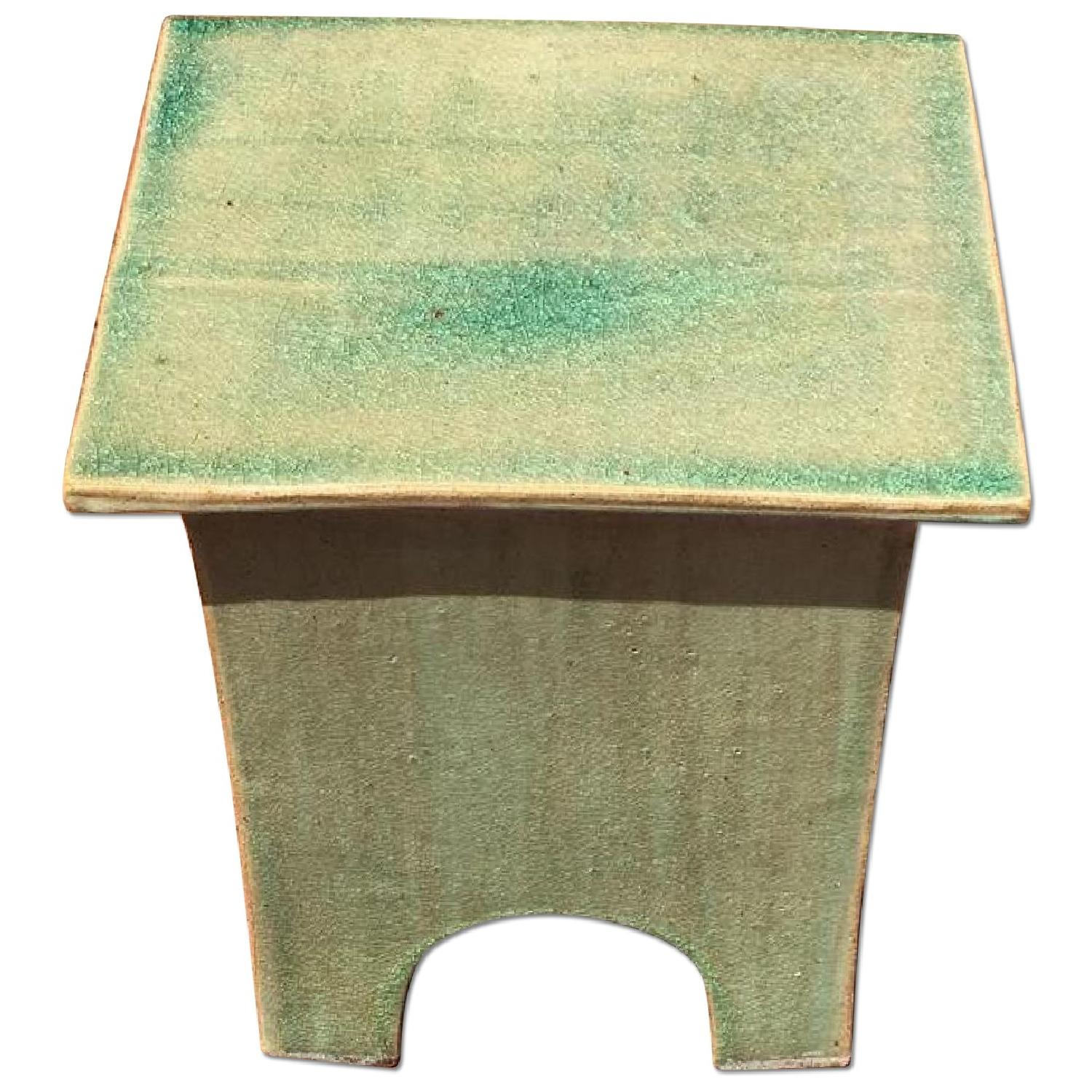 green asian inspired indoor outdoor side table aptdeco frame ikea white bedside black trestle target shower curtain rod small stackable tables student desk distressed accent