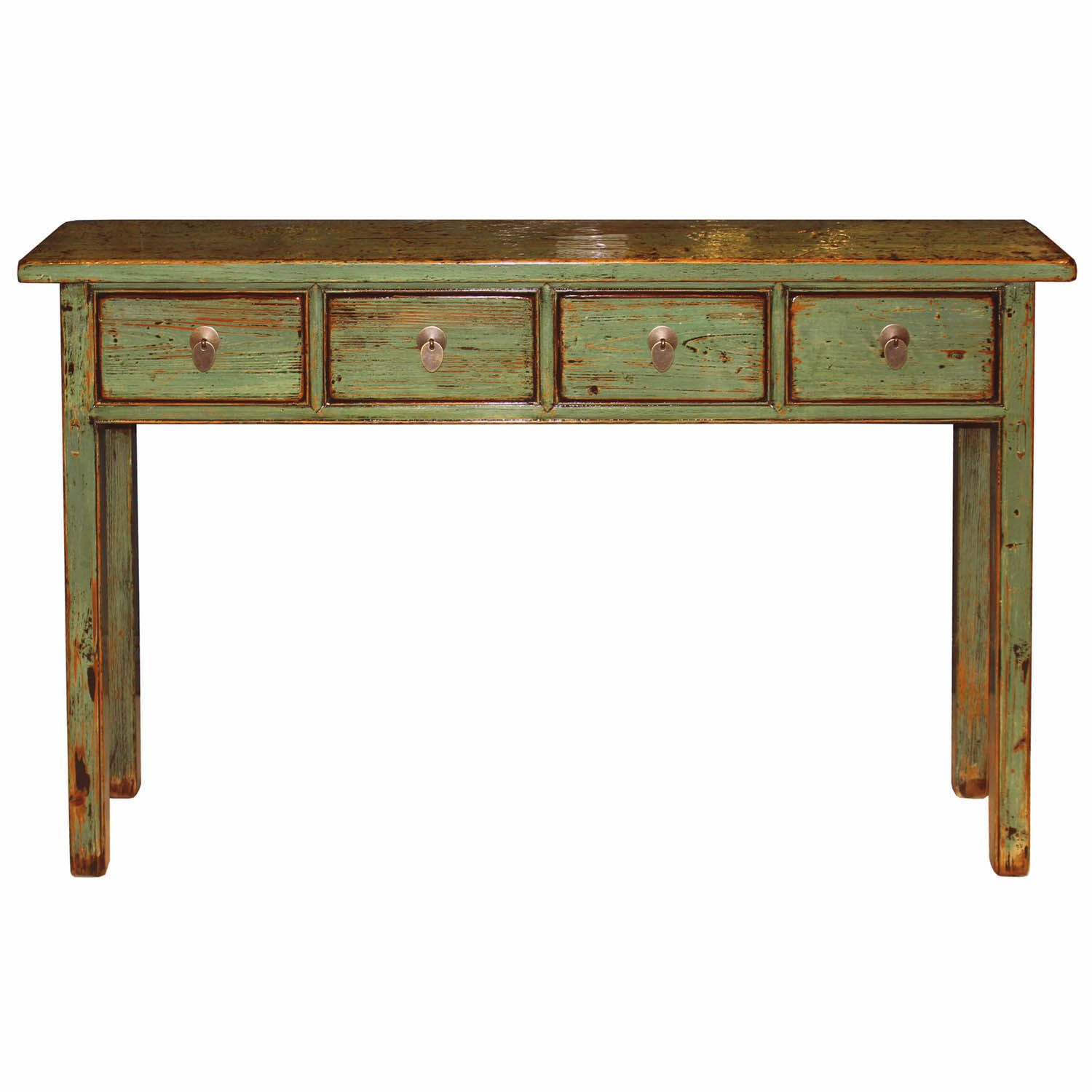 green drawer console table consoles and desks sage accent tables vintage from northern has been refinished with lacquer highlighted exposed mercers furniture kmart desk lamp