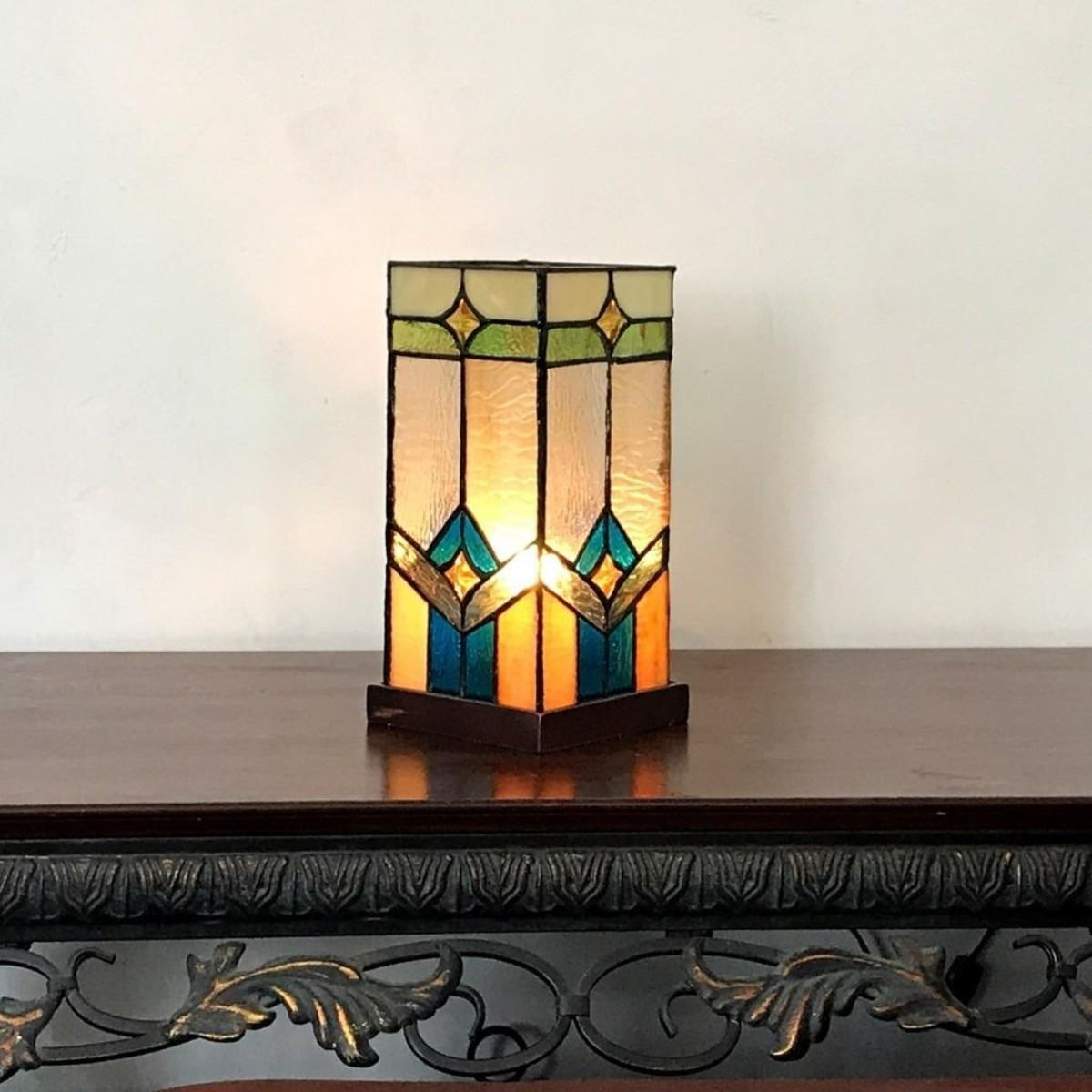 gregory tiffany glass accent pedestal light mission table lamp lamps tall cherry end tables queen anne wrought iron frame coffee kijiji teal corner adjustable drum stool big
