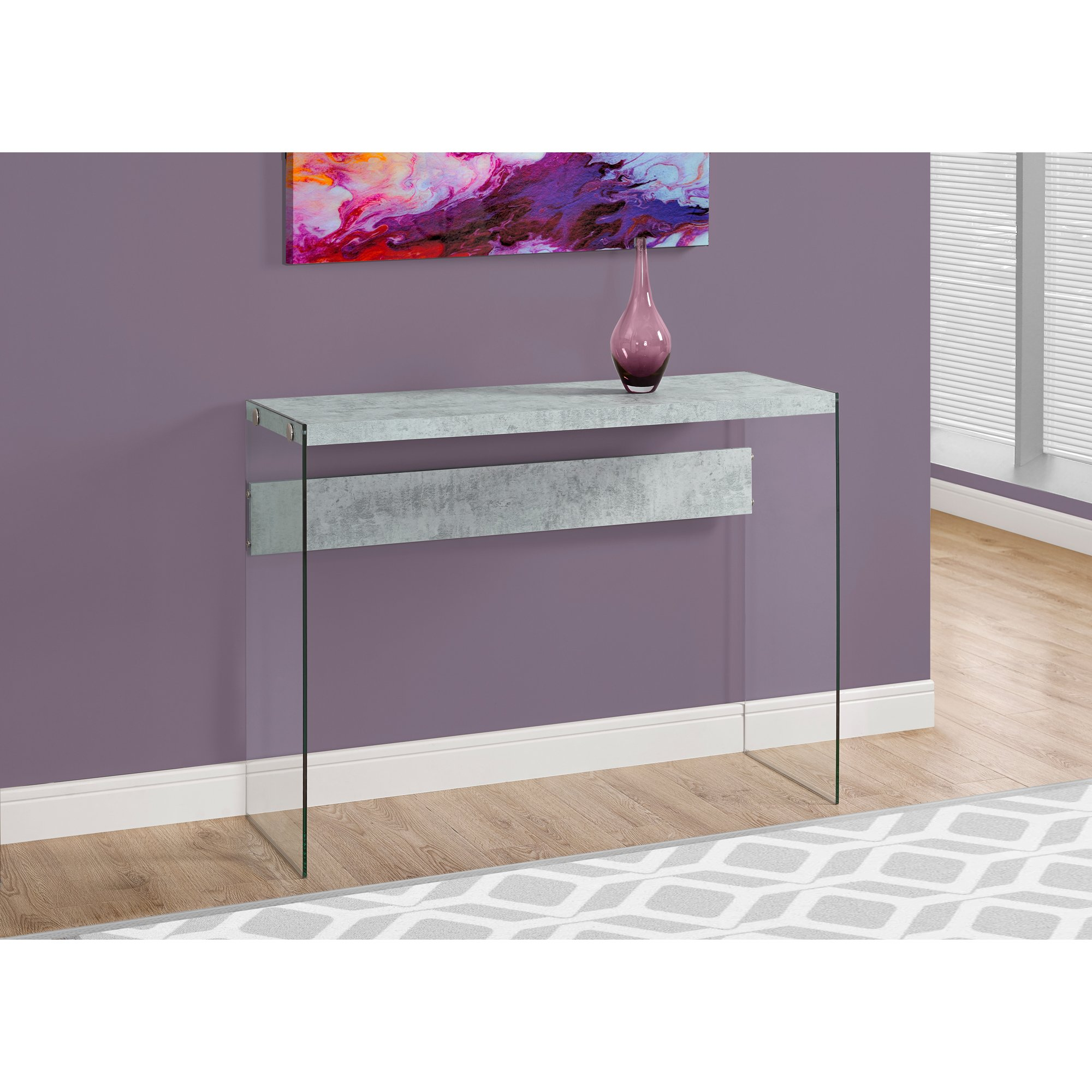 grey glass entryway console accent table free shipping today ashley coffee and end tables pottery barn style dining legs crystal shade lamp small kitchen bench set modern round