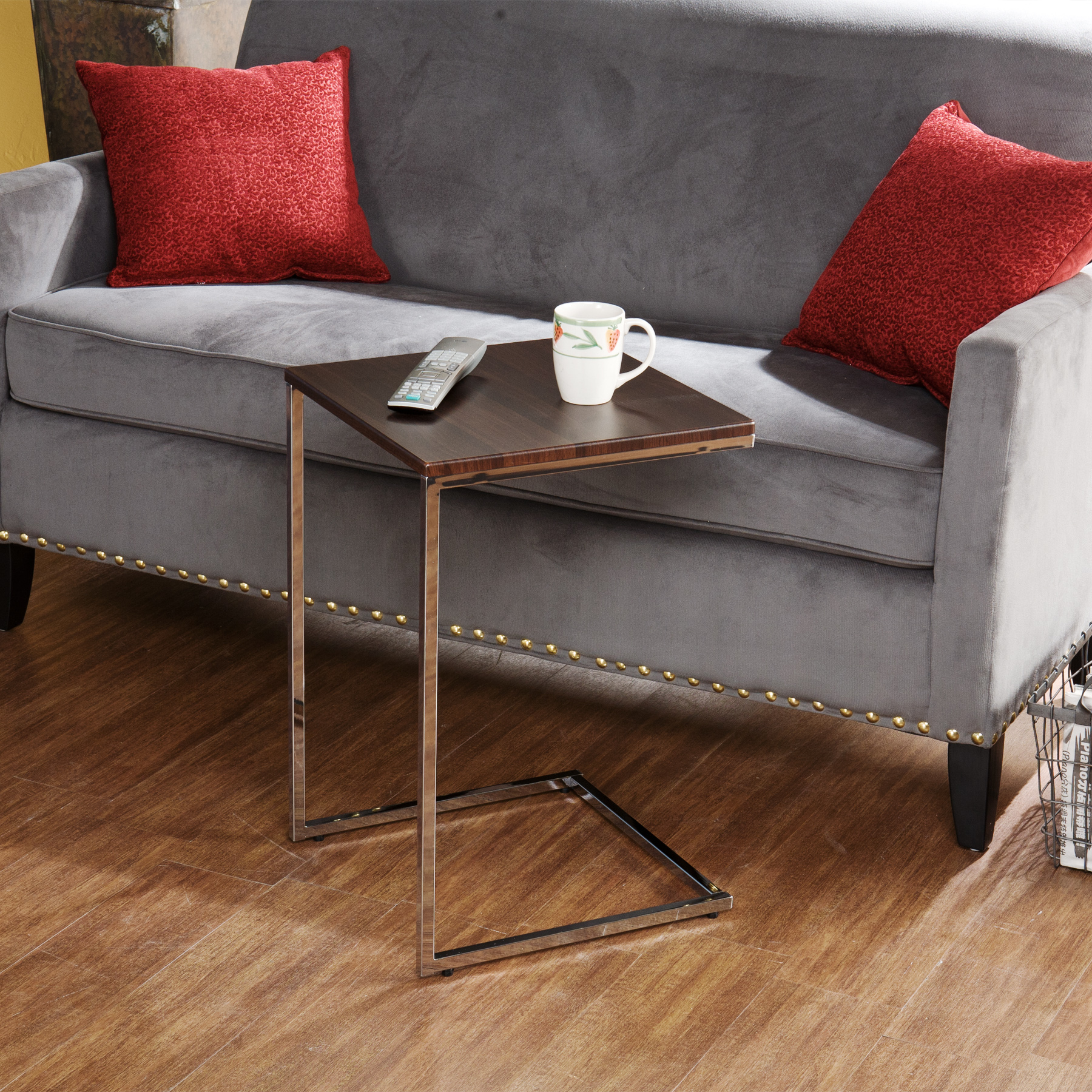 grey velvet sofas with red cushions feat metal couch desk for tray furniture inspirations tables ideas wood flooring comfy interior room decors stylish design set cozy offic