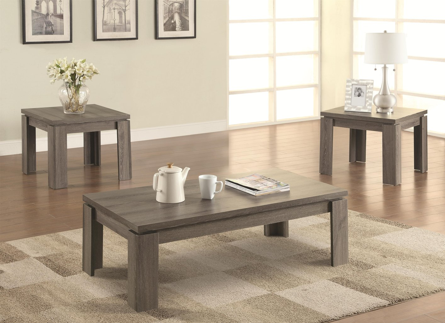 grey wood coffee table set steal sofa furniture los accent anthropologie wicker storage trunk round glass pottery barn gray trestle dining quilt rack metal and end tables inch