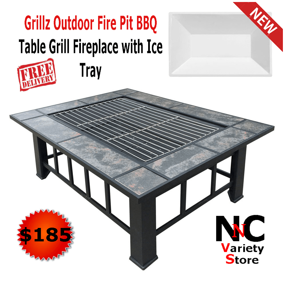 grillz outdoor fire pit bbq table grill fireplace with ice tray side home firepits pier one dinnerware rustic coffee set screw furniture legs battery lamps dark purchase linens