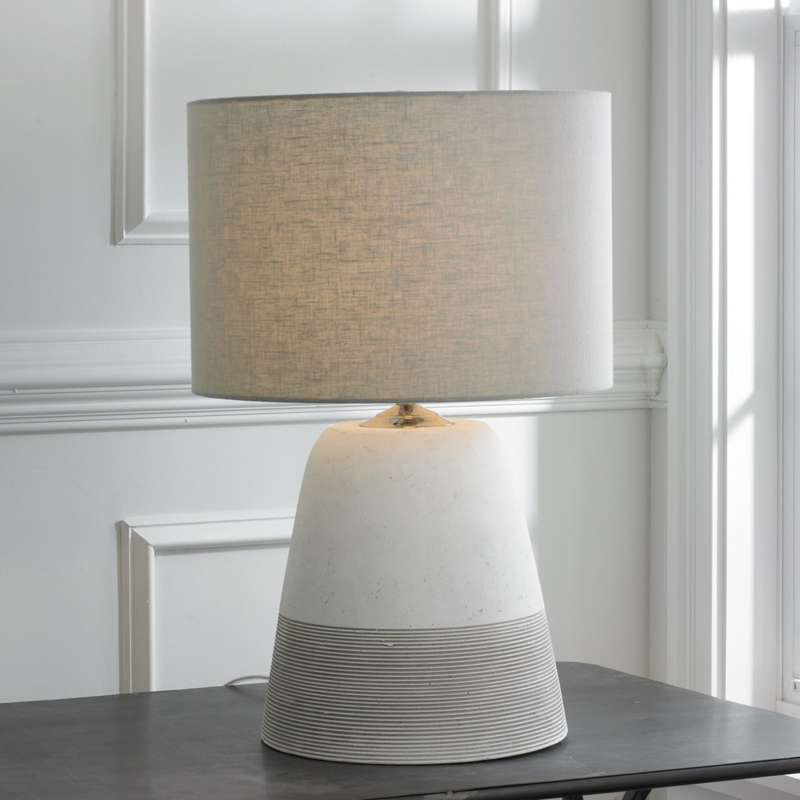 grooved concrete table lamp small shades light nautical accent lamps gray marble tulip side home decor stuff antique white square coffee homemade wood egg chair bunnings bedroom
