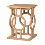guildmaster handpainted circle cut out blonde accent table wood block hover zoom large bedside tables counter height navy blue plastic tablecloth pottery barn jamie mission lamp 150x150