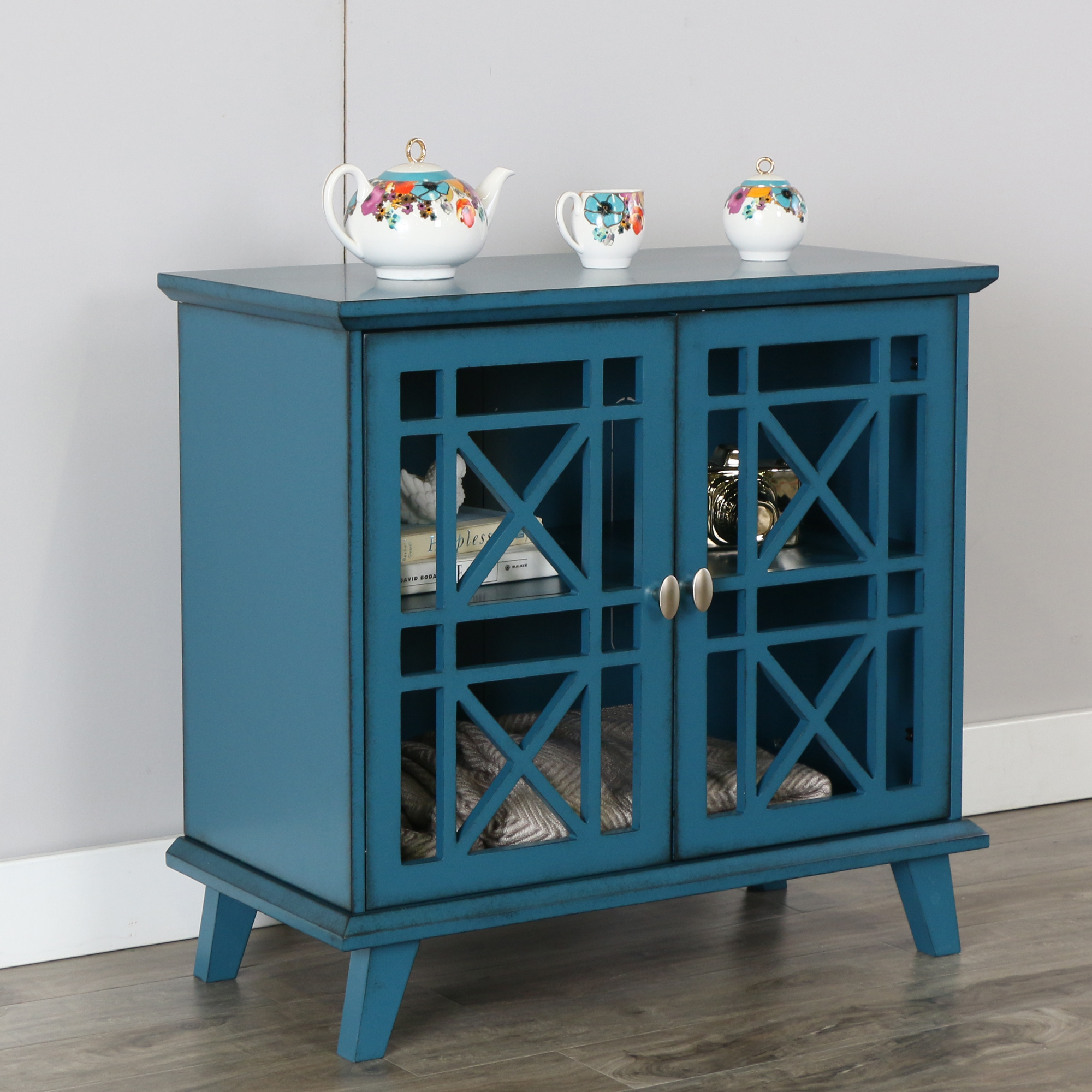 gwen fretwork accent console blue multiple colors available table hand painted bronze rain drum entryway west elm free shipping coupon code outdoor side driftwood slim ikea patio