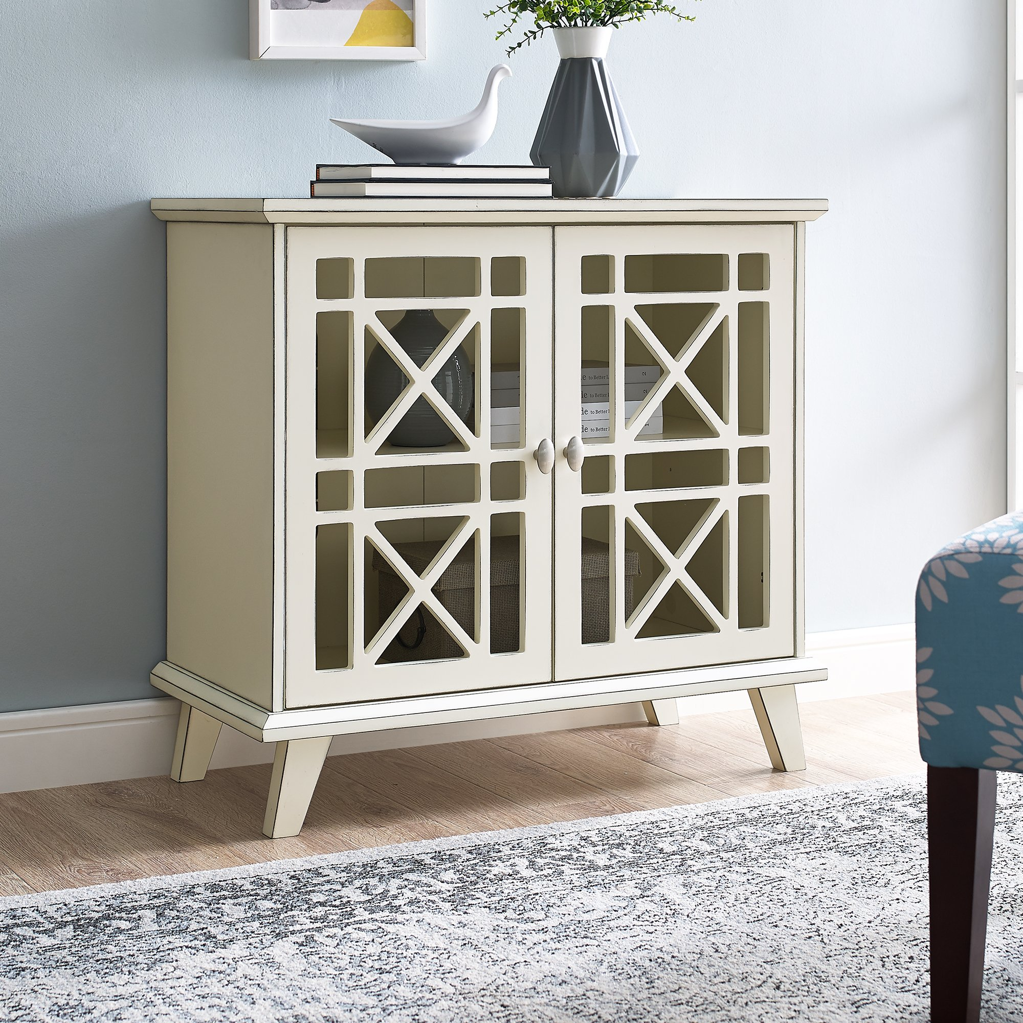 gwen fretwork accent table walker edison blue silver sofa slim side ikea outdoor drum small industrial end metal entryway magazine coffee legs furniture roland stool white tray
