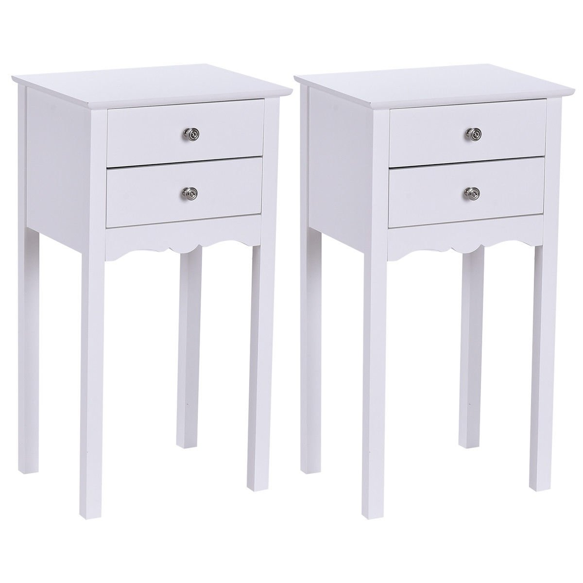 gymax pcs side table end accent night stand drawers white free shipping today pottery barn dining set steel bedside target industrial coffee tall mirror unfinished furniture