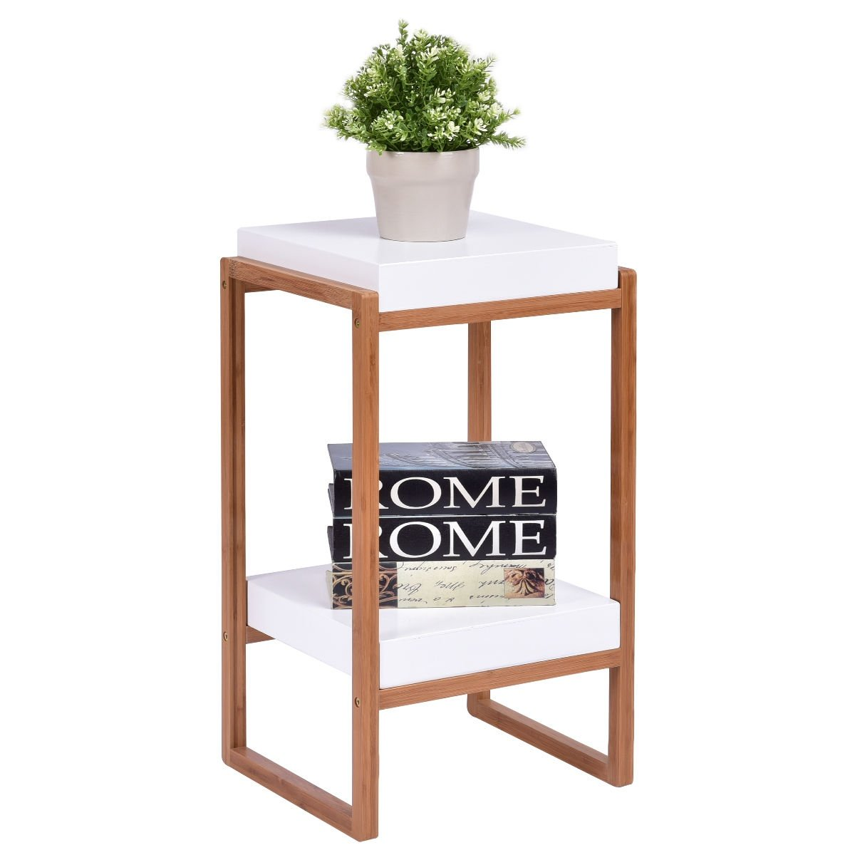 gymax side end table accent storage night stand display shelf white target fretwork dining chairs meyda lamps west elm replacement lamp shades small round metal outdoor garden