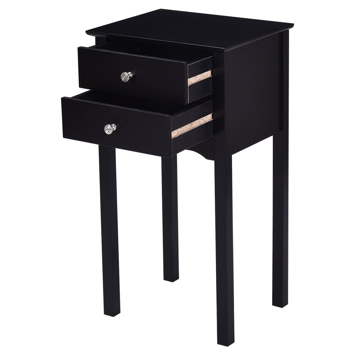 gymax side table end accent night stand drawers furniture black with drawer free shipping today round narrow cabinet cooler white marble bedside globe lamp tablecloth for oval