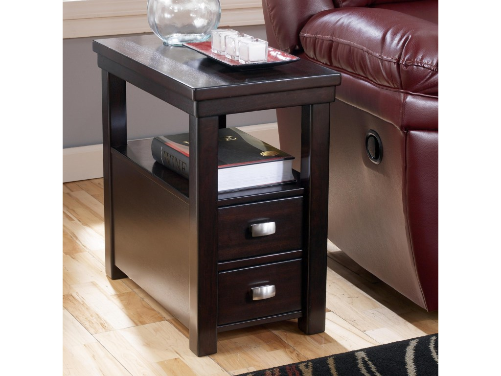 hadley chairside end table with drawers shelf rotmans products signature design ashley color hatsuko accent drawer hadleychairside round crochet runner chrome glass tables rustic