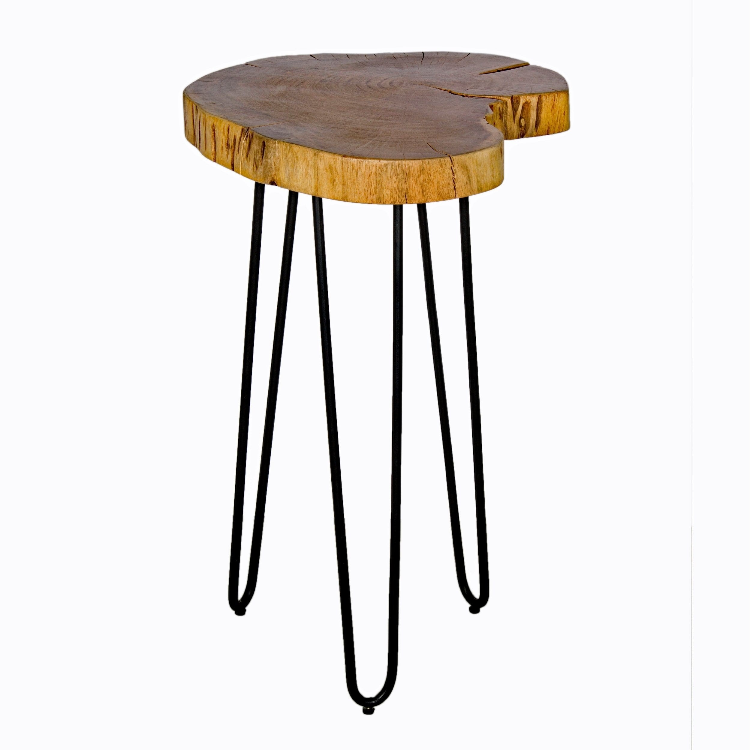 hairpin natural live edge wood metal round end table with room essentials accent free shipping today ashley furniture lift coffee ethan allen ballan retro kitchen gold legs