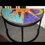 half crescent stained glass mosaic entryway table desiree accent handmade pieces tictail dale tiffany leilani lamp round side tables for living room tile patio set storage chest 150x150