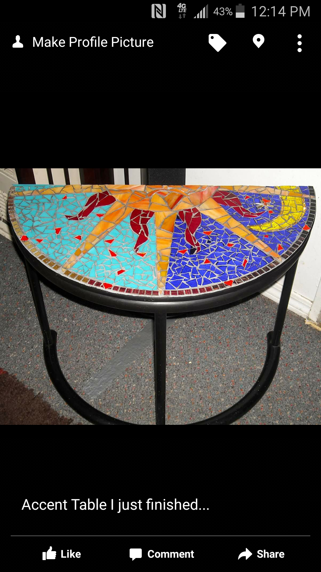 half crescent stained glass mosaic entryway table desiree accent handmade pieces tictail dale tiffany leilani lamp round side tables for living room tile patio set storage chest
